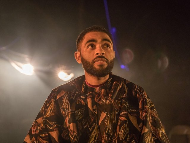 Anthony Welsh (Shoni) in Barber Shop Chronicles at the National Theatre (c) Marc Brenner