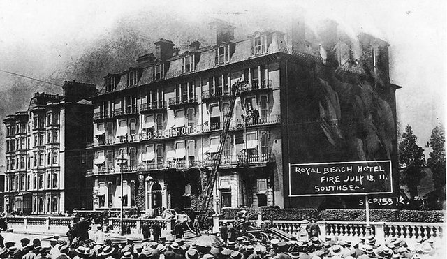 The fire at the Royal Beach Hotel, Southsea, in 1911