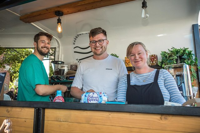 Staff at the Harbour Coffee Van. Pictured: Levi Freed (22), Ed Haycock (29), Beth charman (29)Picture: Mike Cooter (090621)