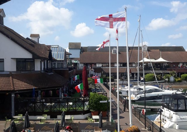 English and Italian flags at Port Solent