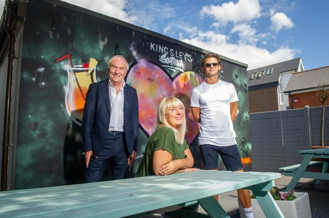 Kingsley's owner Steve Kingsley, manager Mary Foskett and Gianni Shipp from Circolo Pizzeria at Kingsley's new beer garden  Picture: Habibur Rahman