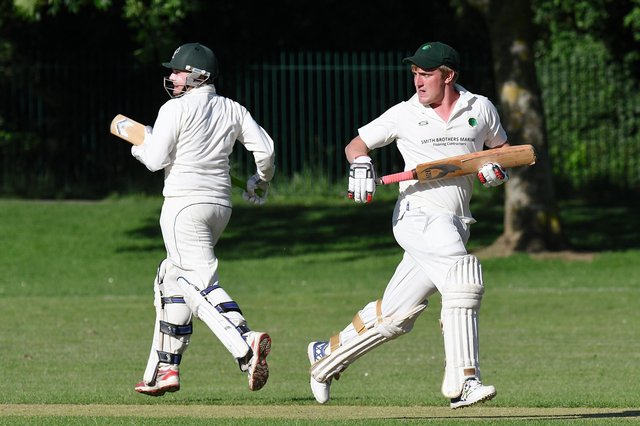 Dan Clark and Harry Robbins batting for Bedhampton in a Hampshire League game against Bournemouth 2nds in 218. Picture: Neil Marshall.