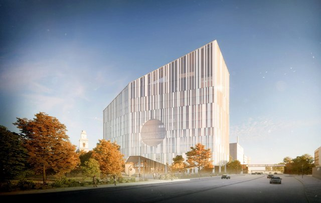 A rendered view of the exterior of the University of Portsmouth's proposed new academic building