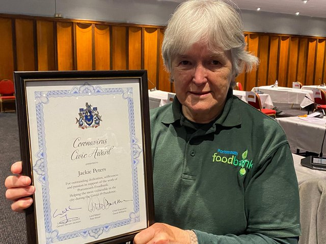 Jackie Peters, 75, was nominated for a civic award for her 'outstanding dedication' supporting needy families as part of the Portsmouth Food Bank team.