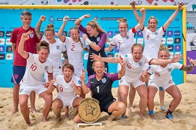 England celebrate their Beach Soccer victory in Portugal. Picture: England Beach Soccer.