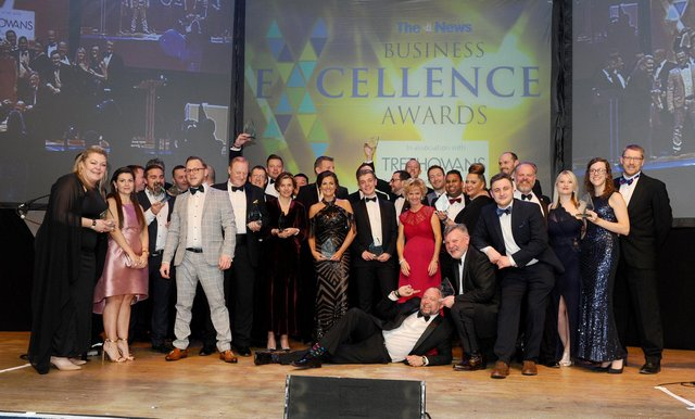 Winners from the The News, Portsmouth Business Excellence Awards 2020 with (right) Mark Waldron, editor of The News, Portsmouth.  Picture: Sarah Standing (210220-8562)