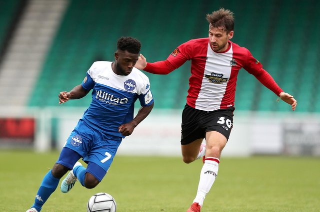 New Hawks signing Abdulai Baggie, left, in action for Eastleigh last season. Photo by Naomi Baker/Getty Images.