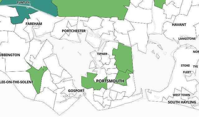 Map of confirmed Covid cases in the Portsmouth area.