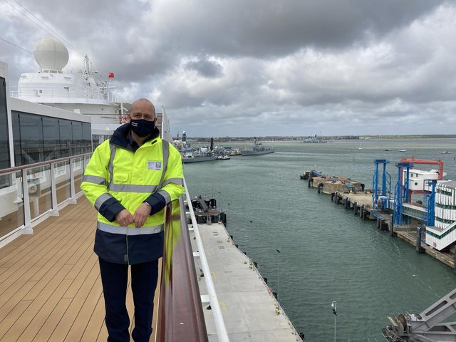Mike Sellers, director of Portsmouth International Port, taken on board Viking's Venus on May 10, 2021, showing the new cruise liner berth.