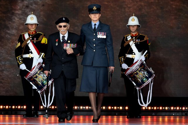 Veteran John Jenkins MBE takes to the stage during the D-Day Commemorations. Picture: Dan Kitwood/Getty Images