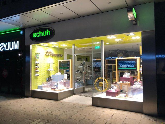 The Schuh shoe store in Commercial Road, photographed at 10.20pm on March 25. Picture: Richard Lemmer