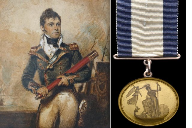 The medal pictured alongside a painting of Captain Sir William Hoste, an extremely important naval figure and protégé and friend of Nelson.
