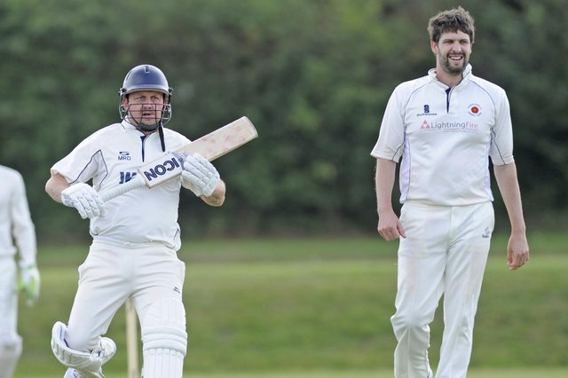 Matt Davies, left, bowled the final Portsmouth Community over, and Waterlooville's Will Chrystal, right, ended unbeaten on 29 as his side lost by 10 runs at Cockleshell Gardens. Picture Ian Hargreaves