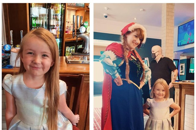 Poppy Crown, 5 from Leigh Park, had her hair chopped for the Little Princess Trust and was surprised by a visit from Frozen's Princess Anna. Pictured: Left, Poppy before her haircut and right, with Anna and her new hairdo