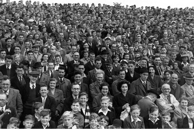 A Fratton Park crowd in the late 1940's.