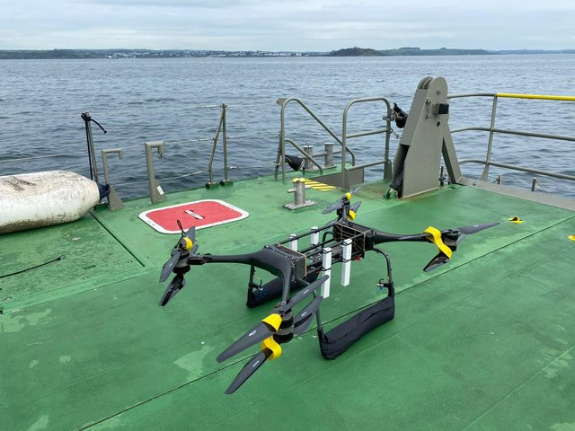 The Minerva T-80 drone has been tested by the Royal Navy in Portsmouth. The tech could one day be used to help rescue sailors that fall overboard. Photo: Royal Navy