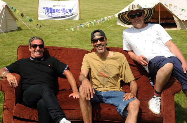 Launch for the Mucky Weekender Festival (September 10-11, 2021) at Vicarage Farm nr Winchester, with founder Barry Ashworth of Dub Pistols, Leeroy Thornhill (ex-The Prodigy) and Bez. Picture by Paul Windsor