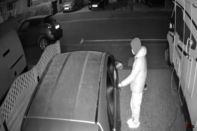 Suspected car thief in Lansdowne Avenue, Widley, Waterlooville. Picture: Carl Inman