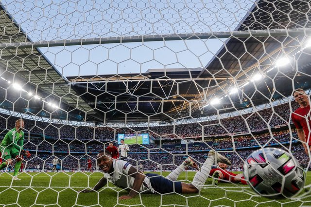 Raheem Sterling, seen here after England's semi-final leveller against Denmark, has been one of England's standout performers at Euro 2020. AP Photo/Frank Augstein.
