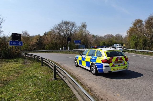 The A3(M) junction 3 at Waterlooville where there has been a crash on April 20, 2021. Picture: Habibur Rahman