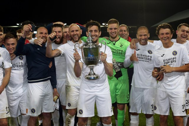 Hawks celebrate winning the Portsmouth Senior Cup final against AFC Portchester in May 2018. The 2019/20 tournament will be played to a finish once lockdown restrictions are eased at the end of this month. Picture: Chris Moorhouse