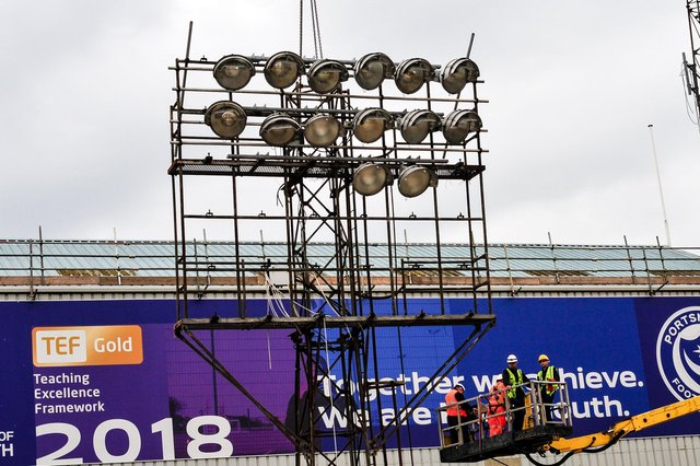 All the floodlights within Fratton Park have now been decommissioned.  Picture: Colin Farmery