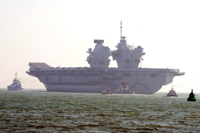 HMS Queen Elizabeth leaving Portsmouth on Monday, March 1.Picture: Sarah Standing (010321-1756)