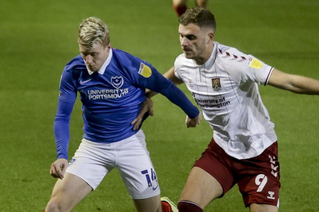 Andy Cannon in action against Northampton at Fratton Park. Picture: Robin Jones
