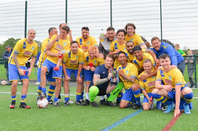 Meon celebrate with the Mid-Solent League's Billy Hill Cup. Picture: Martyn White