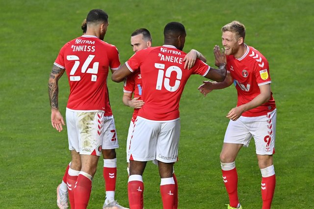 Jayden Stockley, right, celebrates with Chuks Aneke after scoring Charlton's first goal in their 3-1 win against Lincoln.  Picture: Justin Setterfield/Getty Images
