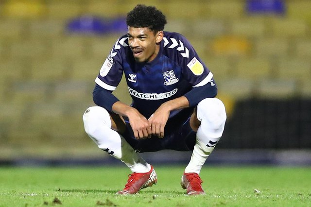 SOUTHEND, ENGLAND - MARCH 23: Reeco Hackett-Fairchild of Southend United looking dejected after the Sky Bet League Two match between Southend United and Walsall at Roots Hall on March 23, 2021 in Southend, England. Sporting stadiums around the UK remain under strict restrictions due to the Coronavirus Pandemic as Government social distancing laws prohibit fans inside venues resulting in games being played behind closed doors. (Photo by Jacques Feeney/Getty Images)