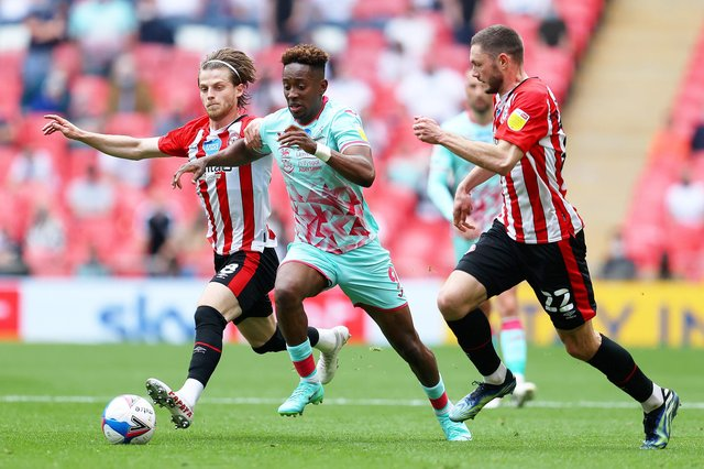 Jamal Lowe in action at Wembley today (Photo by Catherine Ivill/Getty Images)