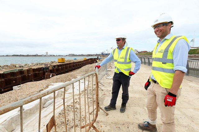 Project director Guy Mason and project manager Rupert Teasdale, right. Construction work on sea defences at Long Curtain and Spur Redoubt, PortsmouthPicture: Chris Moorhouse (jpns 110621-38)