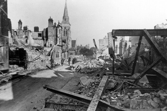 Palmerston Road, Southsea, with St Jude's Church surveying the wreckage.