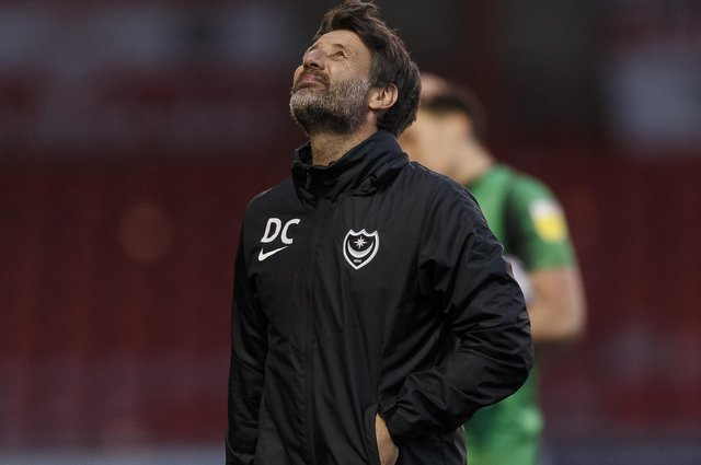 Danny Cowley looks dejected after Pompey's goalless draw at Crewe. Picture: Daniel Chesterton/phcimages.com
