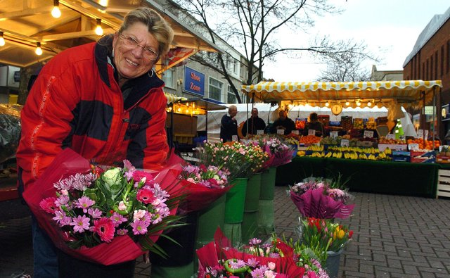 2007. Market traders now placed in Commercial Road Portsmouth. 'Emmie' Adams (59) has been selling flowers for 45 years. Picture: Malcolm Wells (070151-67)