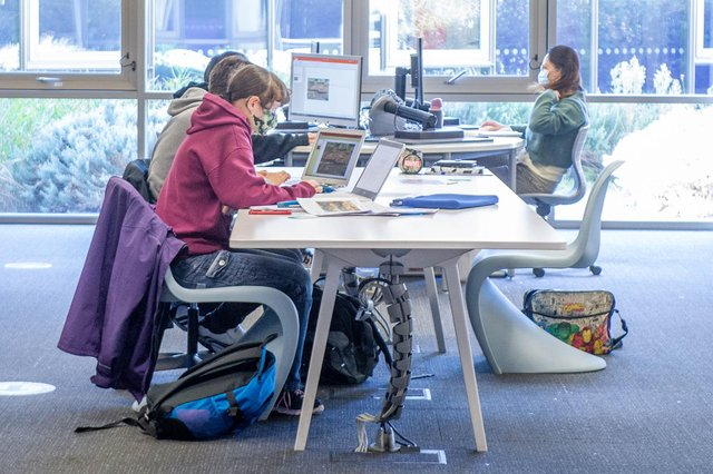 Students in the university library in Cambridge Road, Portsmouth. Picture: Habibur Rahman