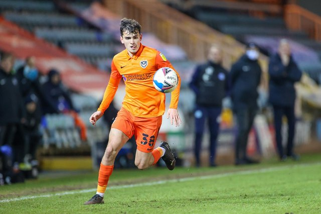 Harry Kavanagh in action for Portsmouth in the EFL Trophy at Peterborough.