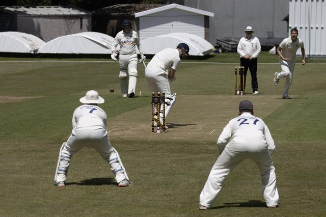 Joe Kooner-Evans bowling for Portsmouth during their SPL Division 1 win at Sparsholt. Picture: Bob Selley.