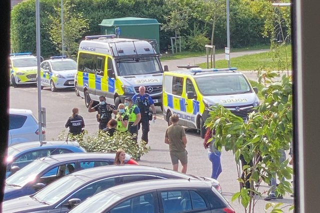Police attend an incident on Fred Francis Close, on June 7.