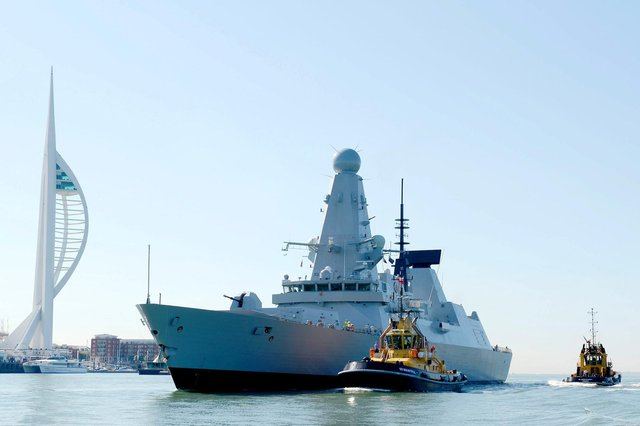 HMS Defender arriving in Portsmouth, her new home, in ????????.