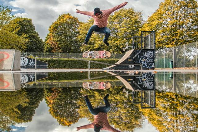Jacob Skinner performs a heel-flip at Milton skatepark. Picture by Paul Scott/@oldskoolpaul