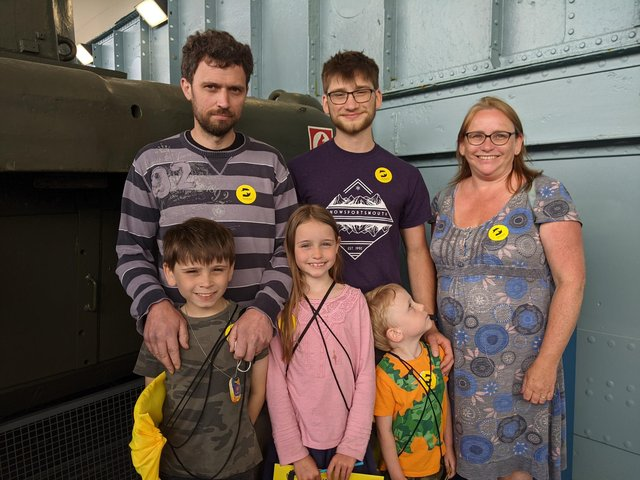 Visitors to the LCT 7074. Top row: Kevin Davies, George Wright, and Liz Davies. Bottom row: Kevin and Liz's other children Robin, nine, Rita, seven, and Daugal, four. Picture: Emily Turner