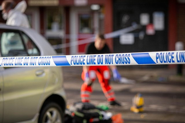 Police tape outside Pickwick House in Buckland, Portsmouth, after Billy-Jay Green died on January 11, 2021. Picture: Habibur Rahman
