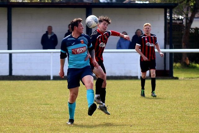 Action from Fleetlands' 4-0 win over Hayling United in their final L4 Teamwear Challenge Cup group tie. Picture: Tom Phillips