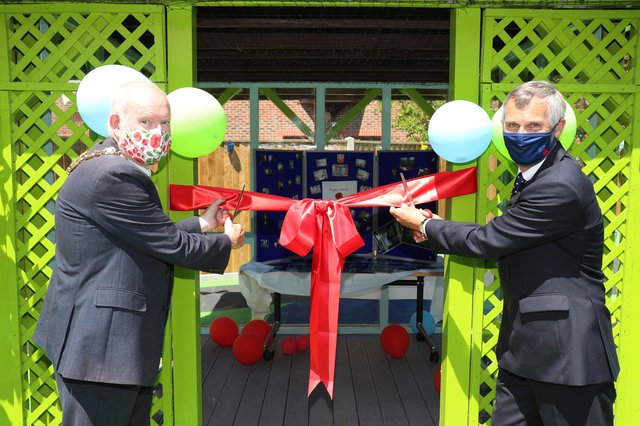 Opening of the new Poppy Ward at Gosport War Memorial Hospital. Gosport Mayor Mark Hook and Lord Lieutenant of Hampshire Nigel Atkinson cut the ribbon to officially open the ward. Picture: Stuart Martin (220421-7042)