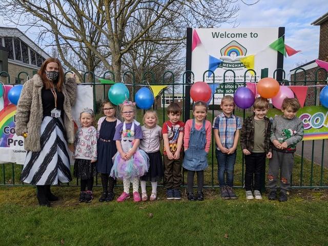 Children return to Mengham Infant School.