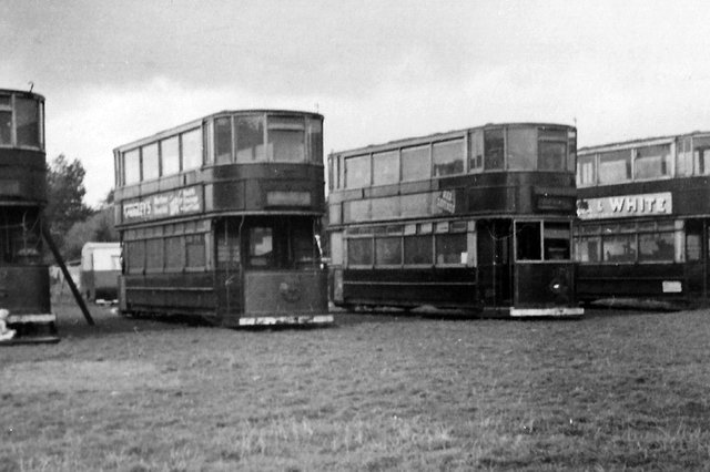 Four camping tramcars at Fishers Camp, Fishery Lane, Hayling Island.  Picture: Barry Cox postcard collection.