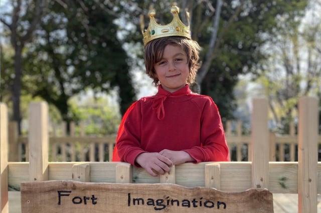 Ezra Osborne, six, offically opens the Elson Infant School new fort.