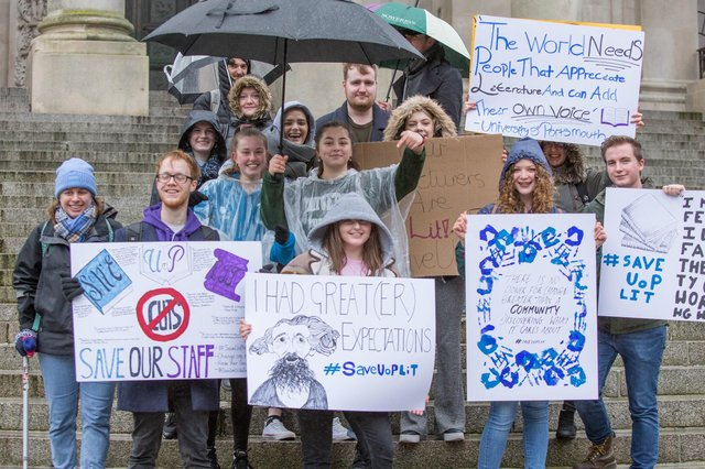 UoP students protesting over proposed job cuts on the Portsmouth Guildhall steps in February. Picture: Habibur Rahman